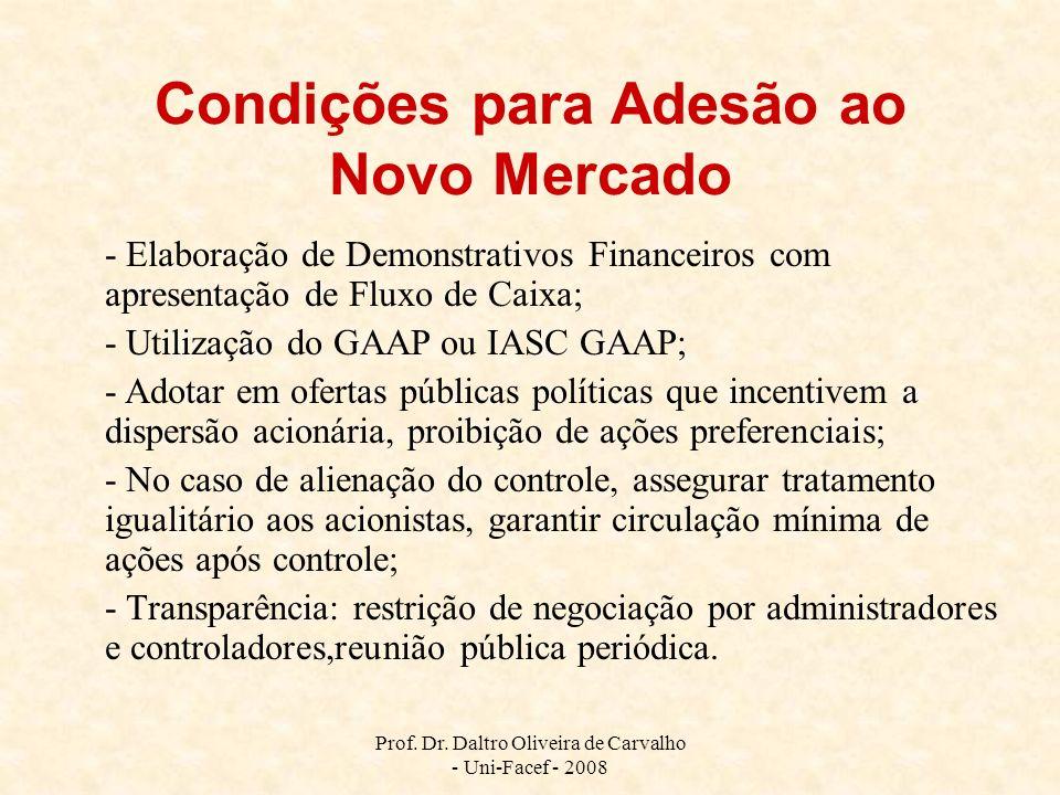Prof. Dr. Daltro Oliveira de Carvalho - Uni-Facef - 2008 Condições para Adesão ao Novo Mercado - Elaboração de Demonstrativos Financeiros com apresent