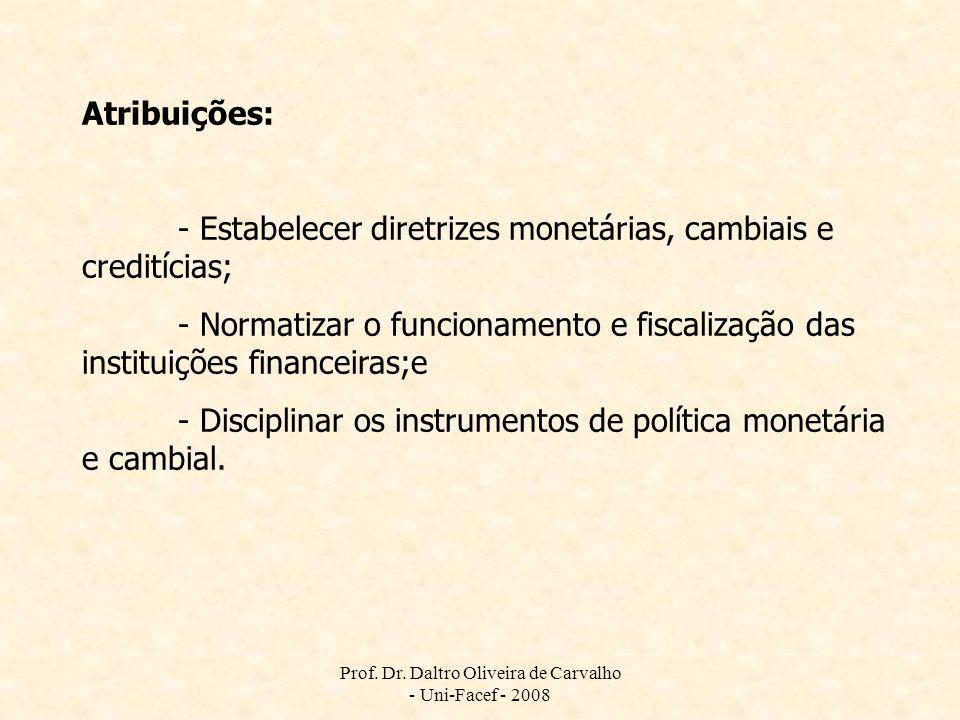Prof. Dr. Daltro Oliveira de Carvalho - Uni-Facef - 2008 Atribuições: - Estabelecer diretrizes monetárias, cambiais e creditícias; - Normatizar o func