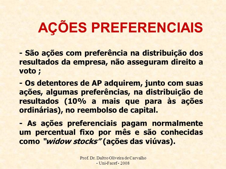 Prof. Dr. Daltro Oliveira de Carvalho - Uni-Facef - 2008 AÇÕES PREFERENCIAIS - São ações com preferência na distribuição dos resultados da empresa, nã