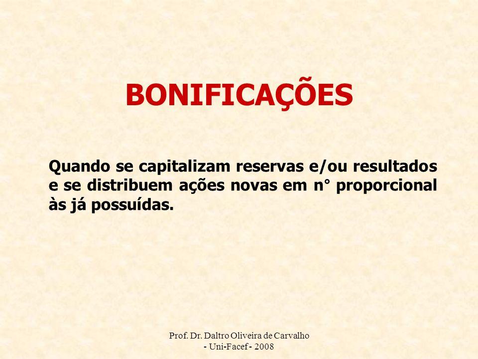 Prof. Dr. Daltro Oliveira de Carvalho - Uni-Facef - 2008 BONIFICAÇÕES Quando se capitalizam reservas e/ou resultados e se distribuem ações novas em n°