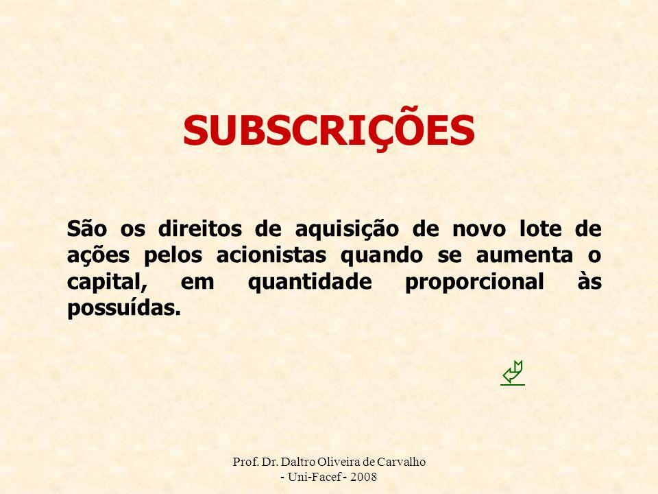Prof. Dr. Daltro Oliveira de Carvalho - Uni-Facef - 2008 SUBSCRIÇÕES São os direitos de aquisição de novo lote de ações pelos acionistas quando se aum