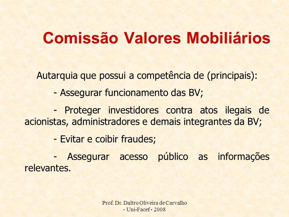 Prof. Dr. Daltro Oliveira de Carvalho - Uni-Facef - 2008 Comissão Valores Mobiliários Autarquia que possui a competência de (principais): - Assegurar