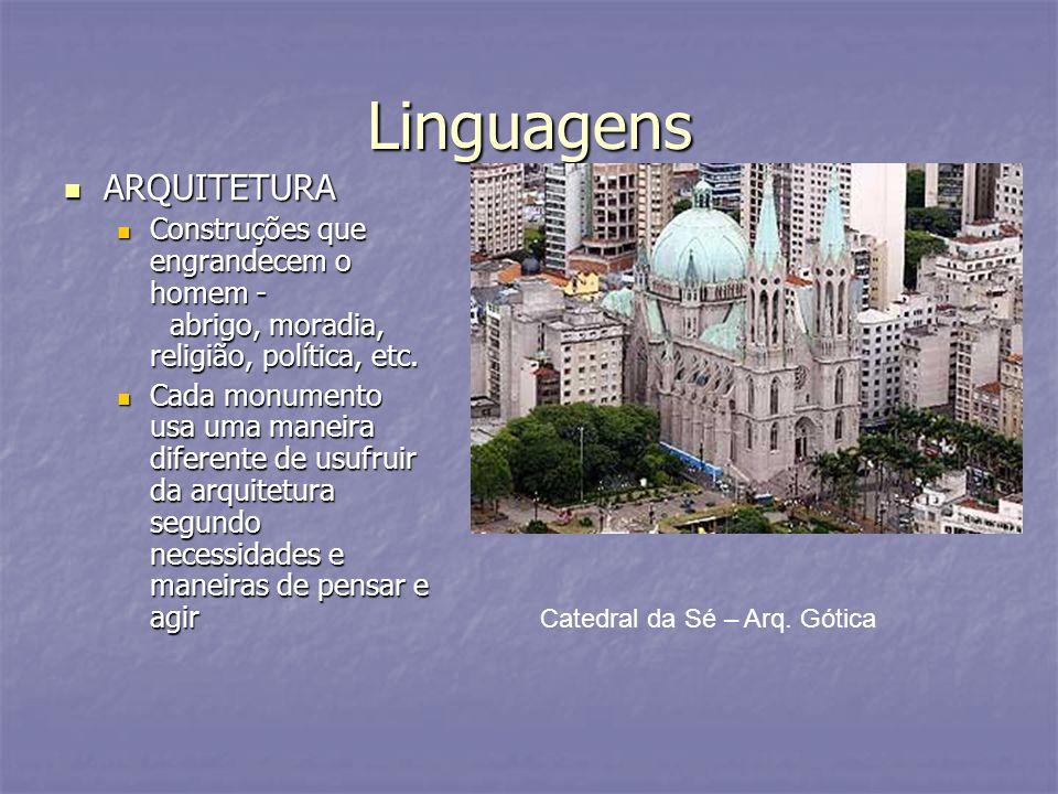Linguagens ARQUITETURA ARQUITETURA Construções que engrandecem o homem - abrigo, moradia, religião, política, etc. Construções que engrandecem o homem