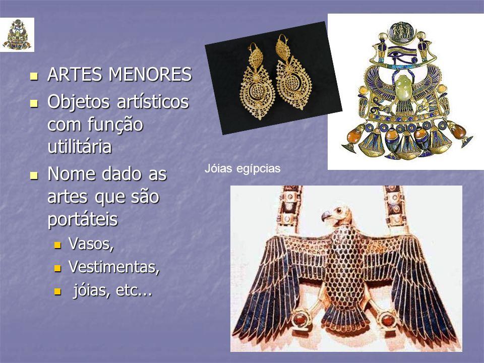 ARTES MENORES ARTES MENORES Objetos artísticos com função utilitária Objetos artísticos com função utilitária Nome dado as artes que são portáteis Nom
