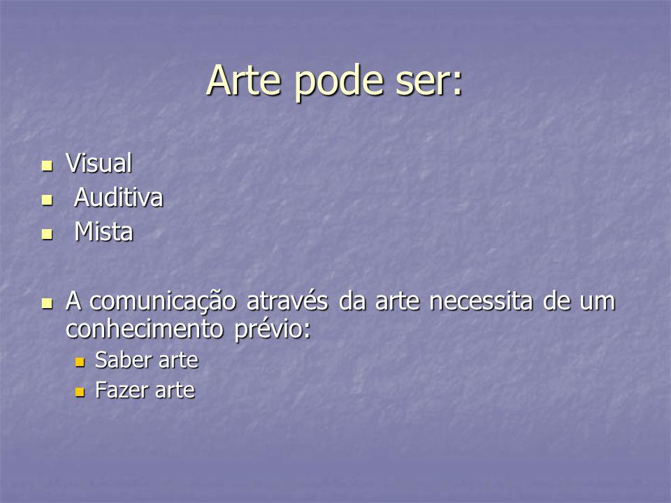 Arte pode ser: Visual Visual Auditiva Auditiva Mista Mista A comunicação através da arte necessita de um conhecimento prévio: A comunicação através da