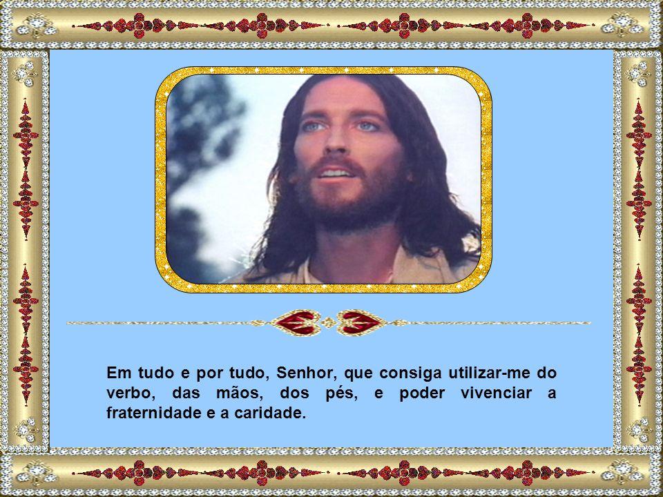 Em tudo e por tudo, Senhor, que consiga utilizar-me do verbo, das mãos, dos pés, e poder vivenciar a fraternidade e a caridade.