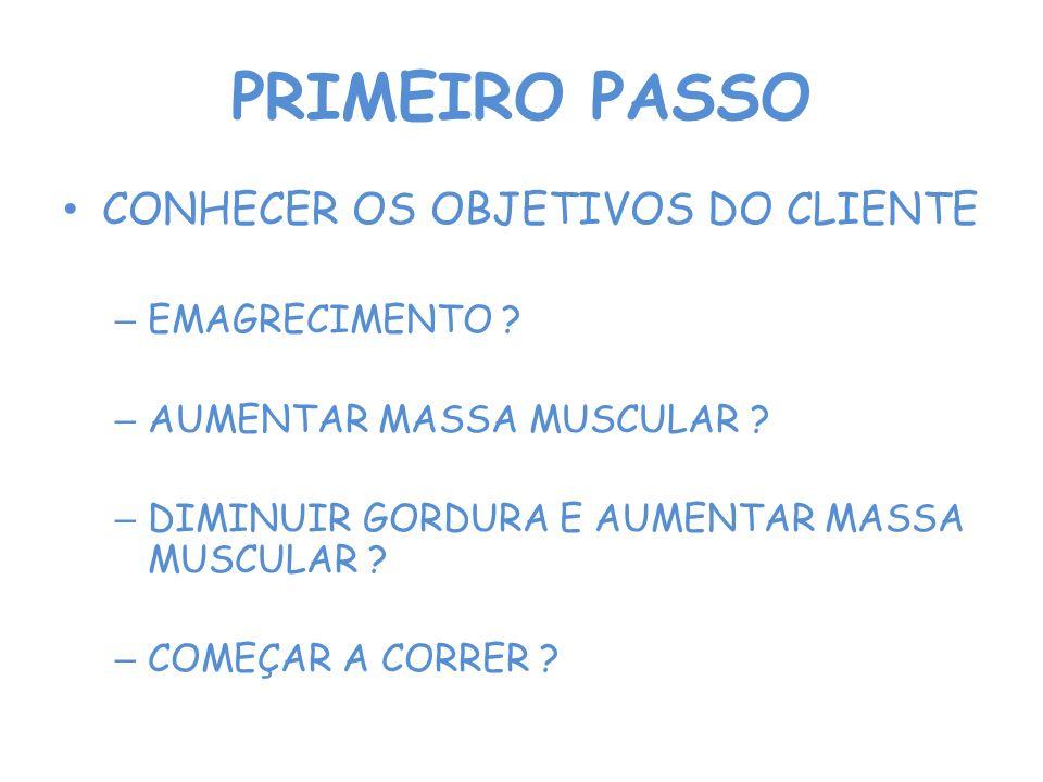 PRIMEIRO PASSO CONHECER OS OBJETIVOS DO CLIENTE – EMAGRECIMENTO .