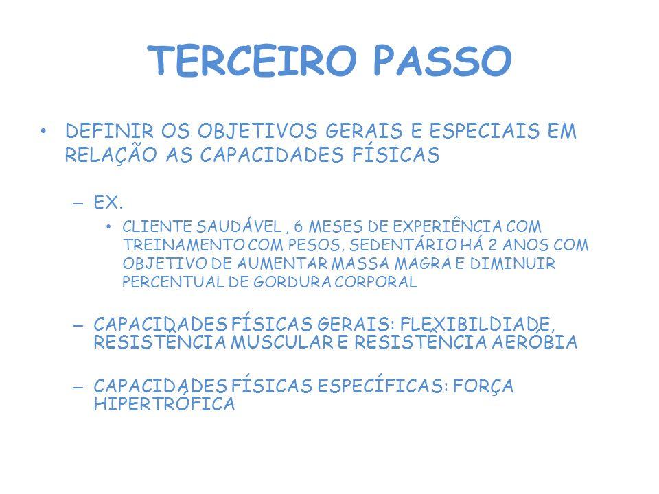 TERCEIRO PASSO DEFINIR OS OBJETIVOS GERAIS E ESPECIAIS EM RELAÇÃO AS CAPACIDADES FÍSICAS – EX.