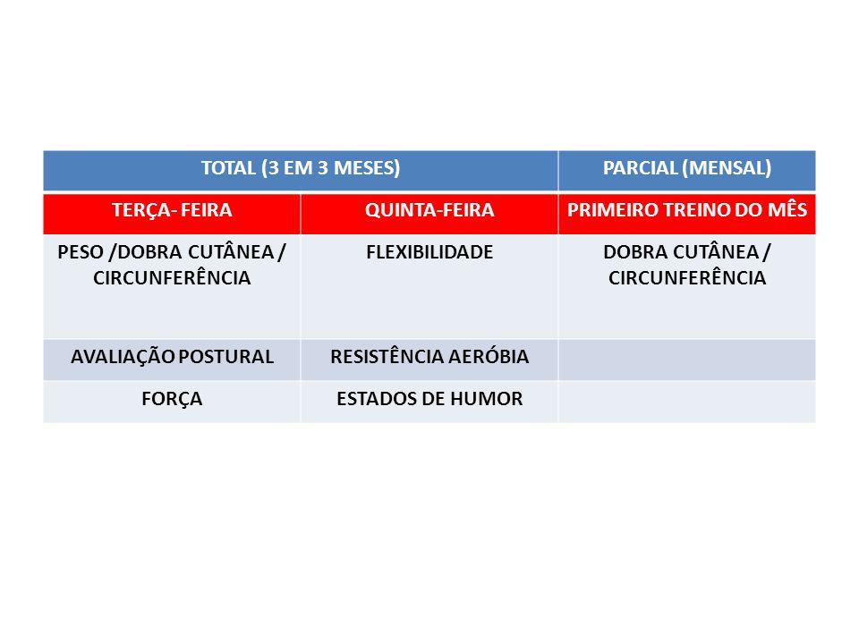 TOTAL (3 EM 3 MESES)PARCIAL (MENSAL) TERÇA- FEIRAQUINTA-FEIRAPRIMEIRO TREINO DO MÊS PESO /DOBRA CUTÂNEA / CIRCUNFERÊNCIA FLEXIBILIDADEDOBRA CUTÂNEA / CIRCUNFERÊNCIA AVALIAÇÃO POSTURALRESISTÊNCIA AERÓBIA FORÇAESTADOS DE HUMOR