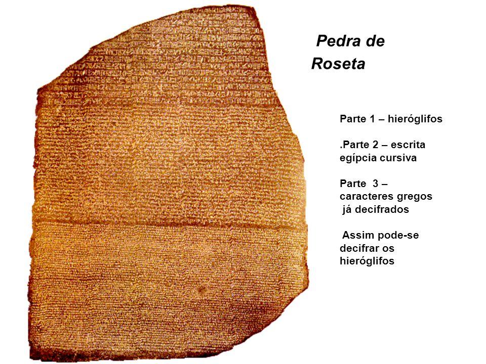 Pedra de Roseta Parte 1 – hieróglifos.Parte 2 – escrita egípcia cursiva Parte 3 – caracteres gregos já decifrados Assim pode-se decifrar os hieróglifo