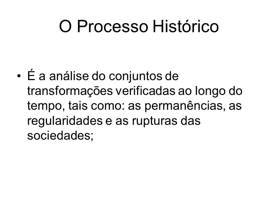 O Processo Histórico É a análise do conjuntos de transformações verificadas ao longo do tempo, tais como: as permanências, as regularidades e as ruptu