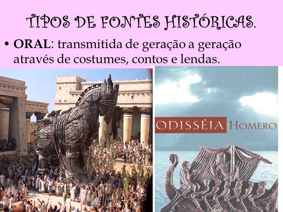 TIPOS DE FONTES HISTÓRICAS. ORAL : transmitida de geração a geração através de costumes, contos e lendas.