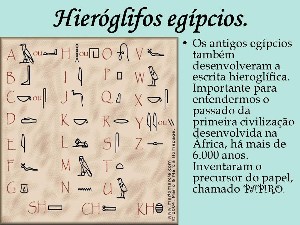 Hieróglifos egípcios. Os antigos egípcios também desenvolveram a escrita hieroglífica. Importante para entendermos o passado da primeira civilização d
