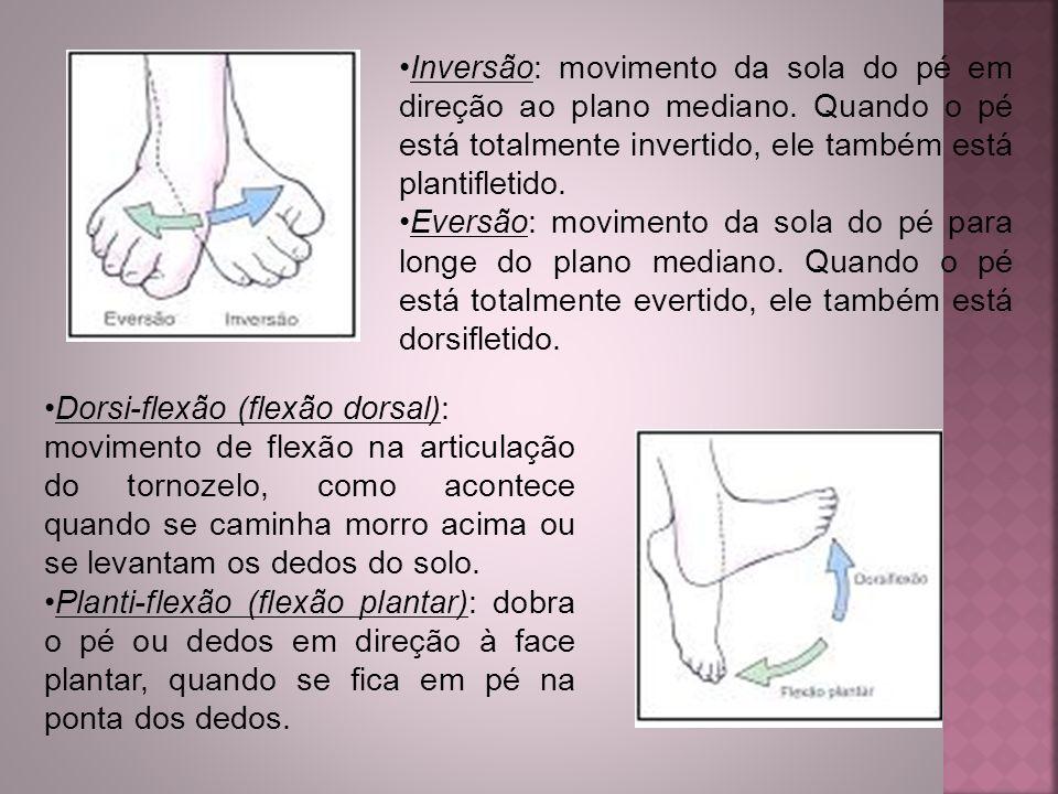 Inversão: movimento da sola do pé em direção ao plano mediano. Quando o pé está totalmente invertido, ele também está plantifletido. Eversão: moviment
