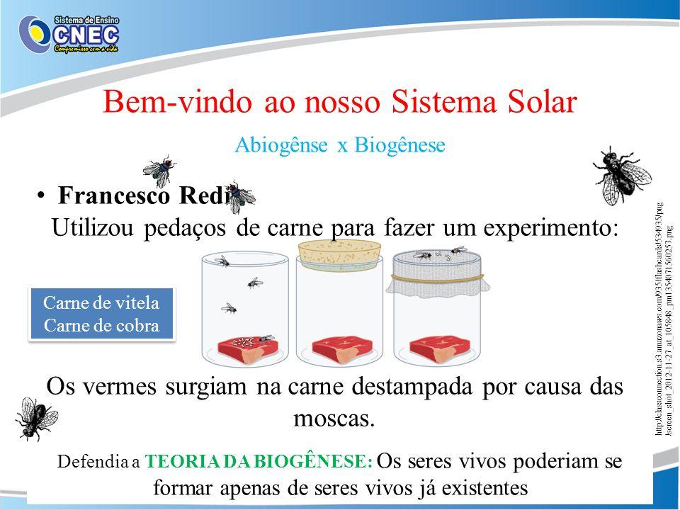 Francesco Redi Utilizou pedaços de carne para fazer um experimento: Os vermes surgiam na carne destampada por causa das moscas. Bem-vindo ao nosso Sis