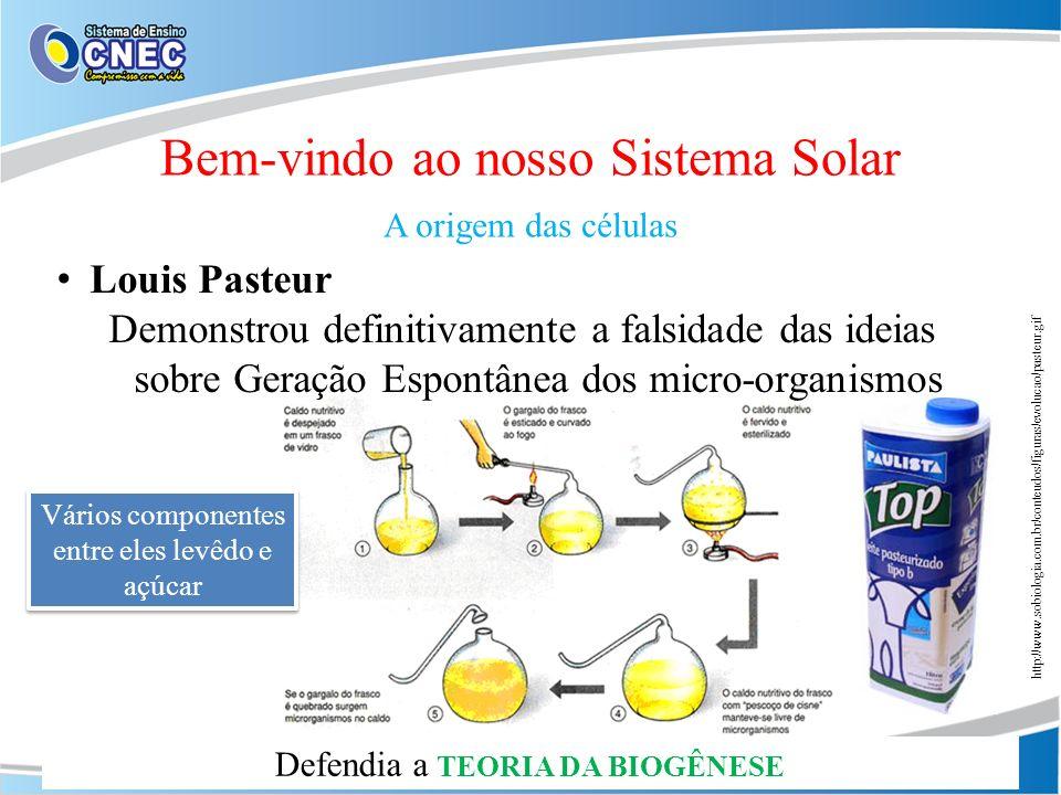 Louis Pasteur Demonstrou definitivamente a falsidade das ideias sobre Geração Espontânea dos micro-organismos Bem-vindo ao nosso Sistema Solar A orige