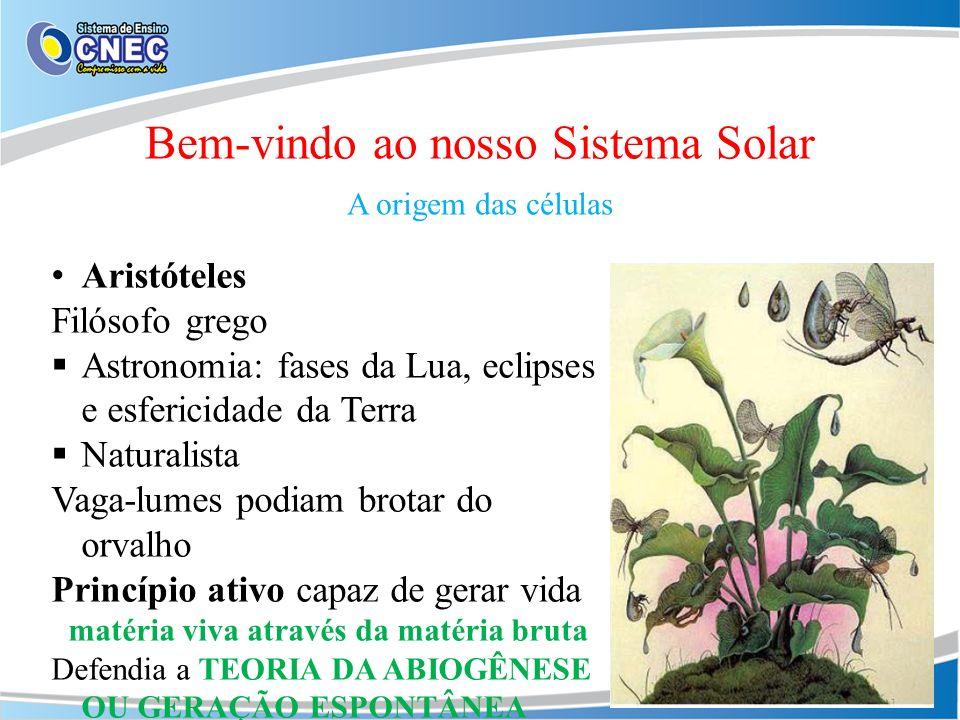 Bem-vindo ao nosso Sistema Solar A origem das células Aristóteles Filósofo grego Astronomia: fases da Lua, eclipses e esfericidade da Terra Naturalist