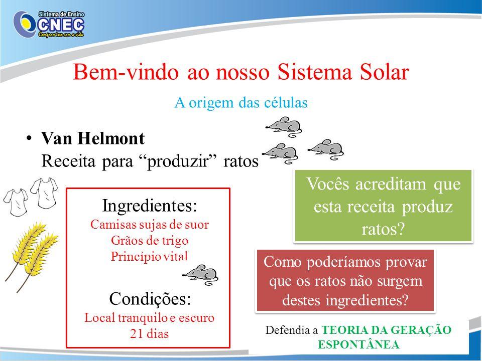 Bem-vindo ao nosso Sistema Solar A origem das células Van Helmont Receita para produzir ratos Ingredientes: Camisas sujas de suor Grãos de trigo Princ
