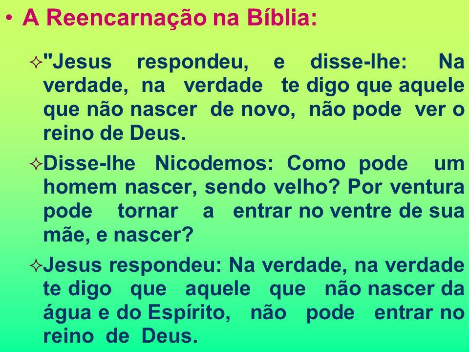 A Reencarnação na Bíblia: Jesus respondeu, e disse-lhe: Na verdade, na verdade te digo que aquele que não nascer de novo, não pode ver o reino de Deus.