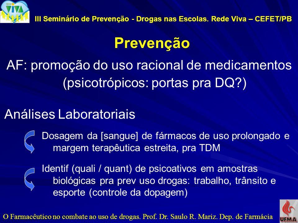 III Seminário de Prevenção - Drogas nas Escolas. Rede Viva – CEFET/PB Prevenção O Farmacêutico no combate ao uso de drogas. Prof. Dr. Saulo R. Mariz.