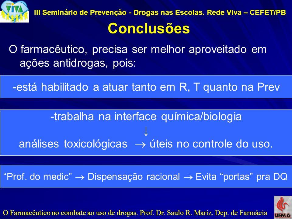 III Seminário de Prevenção - Drogas nas Escolas. Rede Viva – CEFET/PB Conclusões O Farmacêutico no combate ao uso de drogas. Prof. Dr. Saulo R. Mariz.