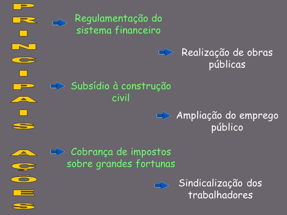 Regulamentação do sistema financeiro Realização de obras públicas Subsídio à construção civil Ampliação do emprego público Cobrança de impostos sobre