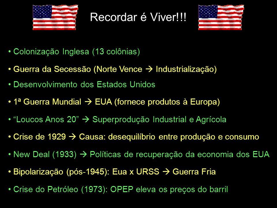 Recordar é Viver!!! Colonização Inglesa (13 colônias) Guerra da Secessão (Norte Vence Industrialização) Desenvolvimento dos Estados Unidos 1ª Guerra M