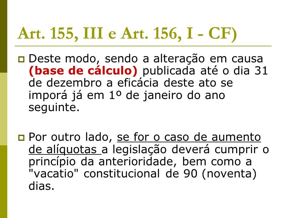 Art. 155, III e Art.