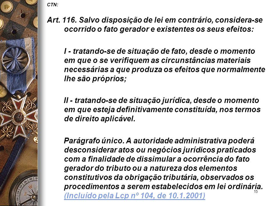 15 CTN: Art. 116. Salvo disposição de lei em contrário, considera-se ocorrido o fato gerador e existentes os seus efeitos: I - tratando-se de situação