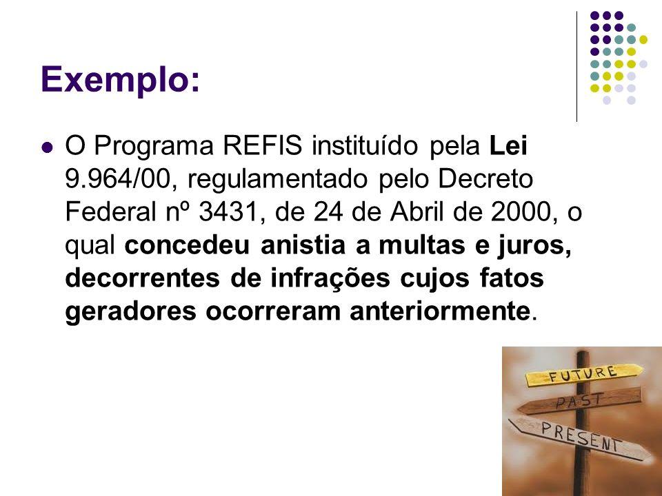 17 Exemplo: O Programa REFIS instituído pela Lei 9.964/00, regulamentado pelo Decreto Federal nº 3431, de 24 de Abril de 2000, o qual concedeu anistia