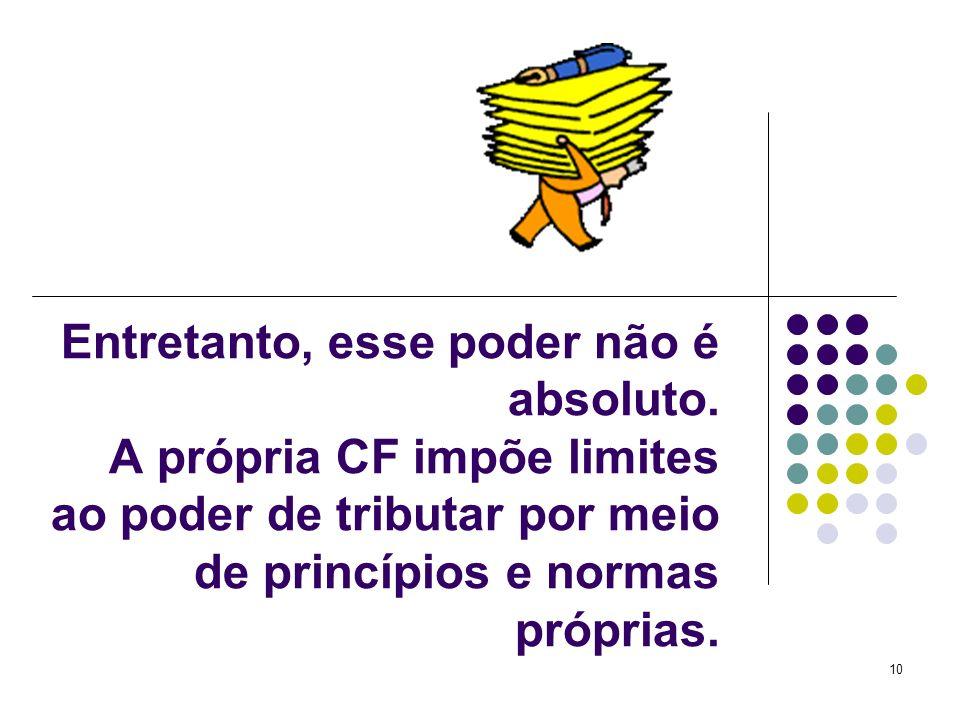 10 Entretanto, esse poder não é absoluto. A própria CF impõe limites ao poder de tributar por meio de princípios e normas próprias.