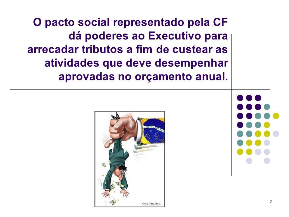 2 O pacto social representado pela CF dá poderes ao Executivo para arrecadar tributos a fim de custear as atividades que deve desempenhar aprovadas no