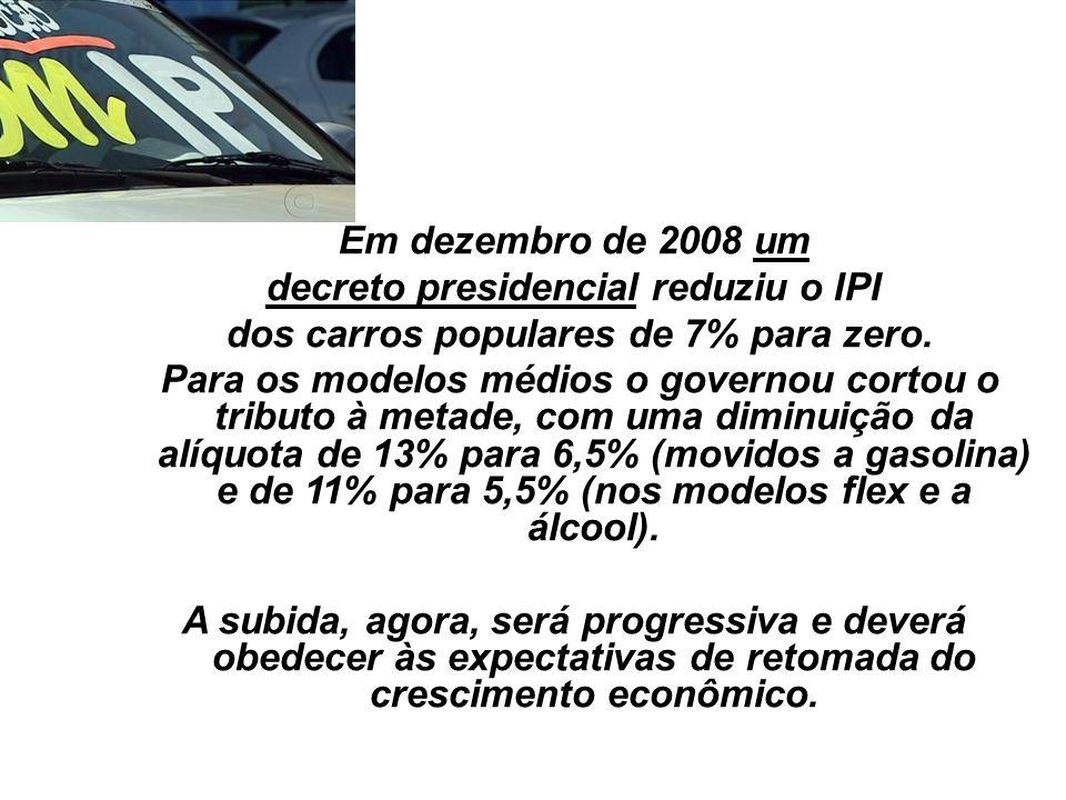 36 Em dezembro de 2008 um decreto presidencial reduziu o IPI dos carros populares de 7% para zero. Para os modelos médios o governou cortou o tributo