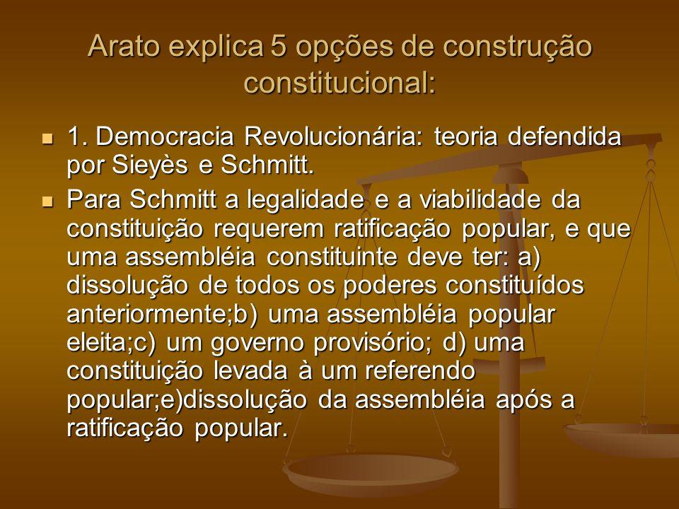 Arato explica 5 opções de construção constitucional: 1. Democracia Revolucionária: teoria defendida por Sieyès e Schmitt. 1. Democracia Revolucionária