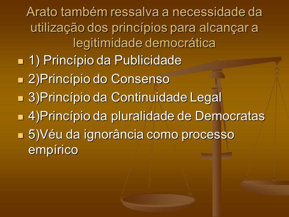 Arato também ressalva a necessidade da utilização dos princípios para alcançar a legitimidade democrática 1) Princípio da Publicidade 1) Princípio da