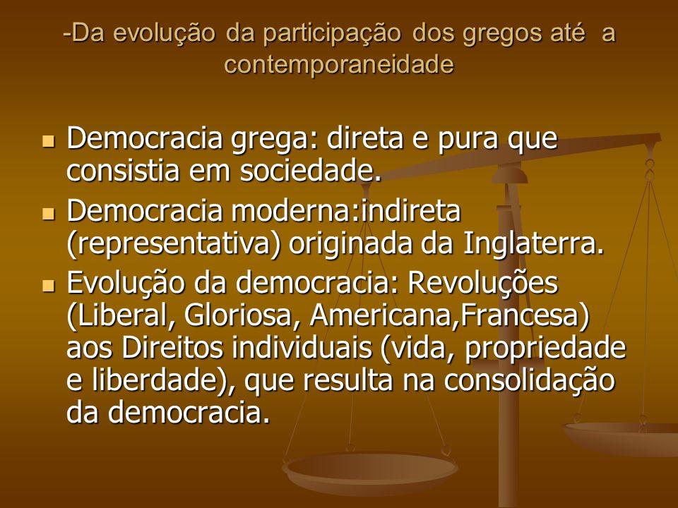 -Da evolução da participação dos gregos até a contemporaneidade Democracia grega: direta e pura que consistia em sociedade. Democracia grega: direta e