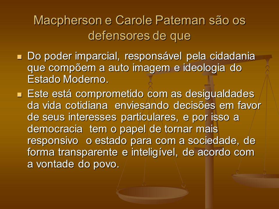 Macpherson e Carole Pateman são os defensores de que Do poder imparcial, responsável pela cidadania que compõem a auto imagem e ideologia do Estado Mo