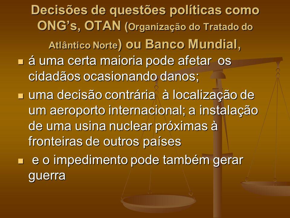 Decisões de questões políticas como ONGs, OTAN ( Organização do Tratado do Atlântico Norte ) ou Banco Mundial, á uma certa maioria pode afetar os cida
