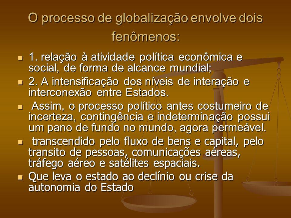 O processo de globalização envolve dois fenômenos: 1. relação à atividade política econômica e social, de forma de alcance mundial; 1. relação à ativi