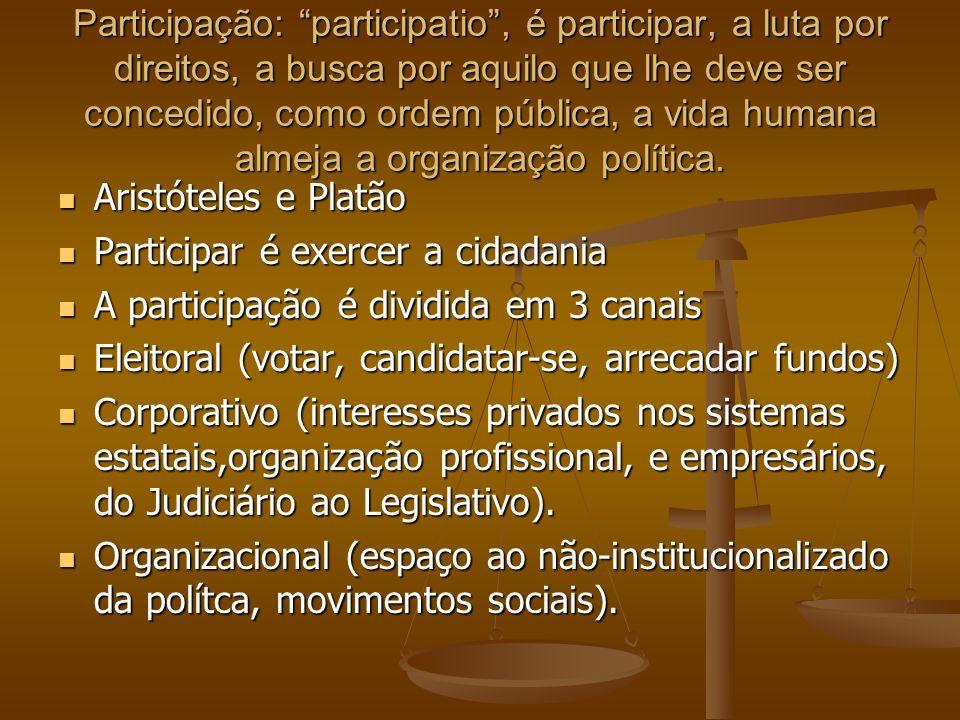 Participação Convencional Participação Não-Convencional Participação Comunitária No Brasil a democracia de consolidou com advento da Constituição Federal da 1988 No Brasil a democracia de consolidou com advento da Constituição Federal da 1988 Duas correntes: Participacionista( originada do contrato social de Rousseau e Locke) defendida por Poulantzas, Macpherson,Pateman e a corrente institucionalista defendida por Weber e Schumpeter, renomeada por Held como democratas empíricos na qual participam Dahl,Lipset.