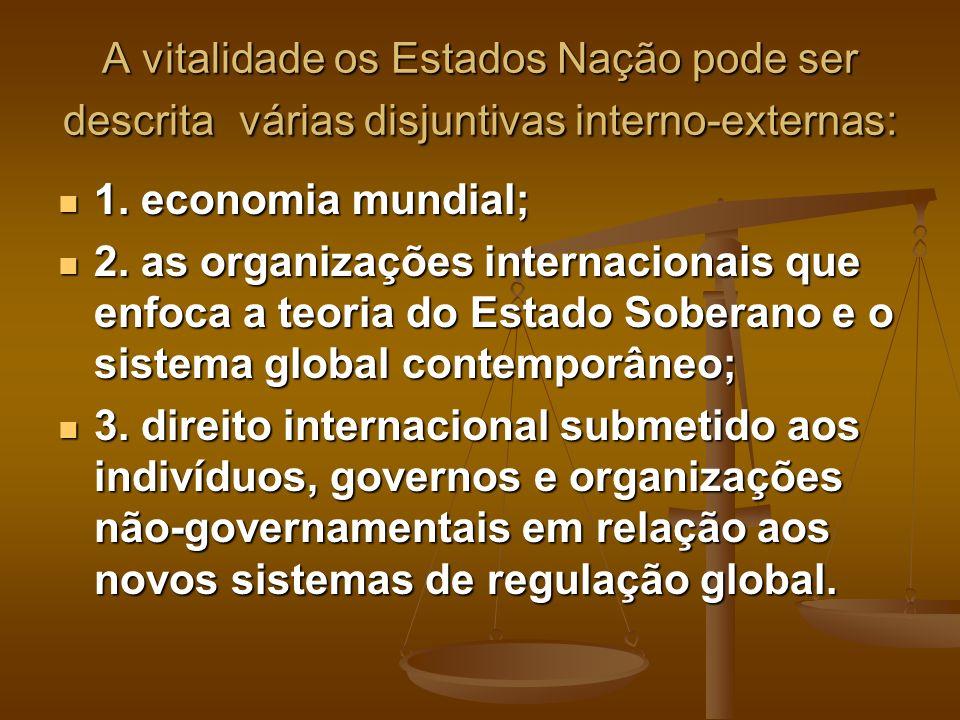 A vitalidade os Estados Nação pode ser descrita várias disjuntivas interno-externas: 1. economia mundial; 1. economia mundial; 2. as organizações inte