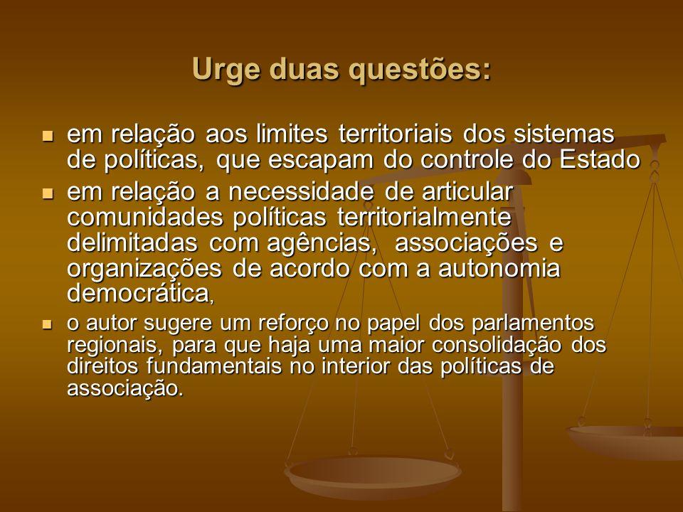 Urge duas questões: em relação aos limites territoriais dos sistemas de políticas, que escapam do controle do Estado em relação aos limites territoria
