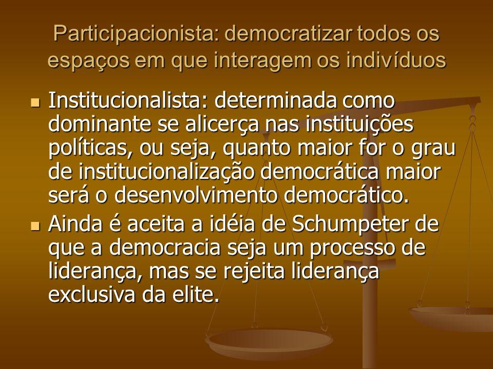 Participacionista: democratizar todos os espaços em que interagem os indivíduos Institucionalista: determinada como dominante se alicerça nas institui