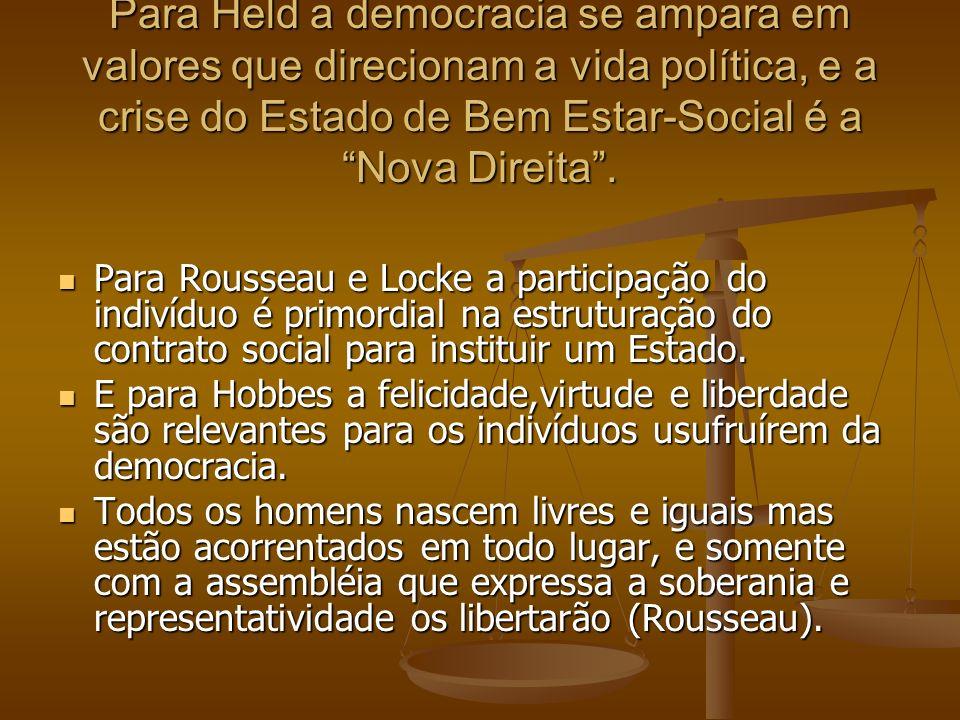 Para Held a democracia se ampara em valores que direcionam a vida política, e a crise do Estado de Bem Estar-Social é a Nova Direita. Para Rousseau e