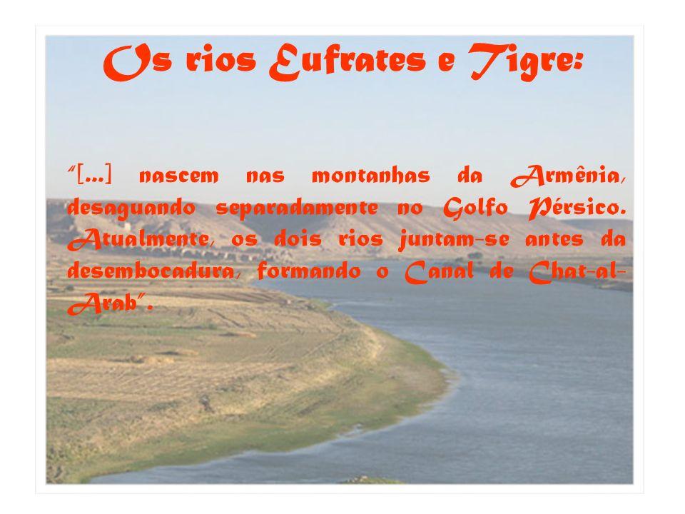 Os rios Eufrates e Tigre: [...] nascem nas montanhas da Armênia, desaguando separadamente no Golfo Pérsico. Atualmente, os dois rios juntam-se antes d