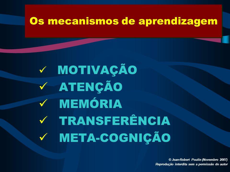 Os mecanismos de aprendizagem © Jean-Robert Poulin (Novembro 2007) Reprodução interdita sem a permissão do autor MOTIVAÇÃO ATENÇÃO MEMÓRIA TRANSFERÊNC