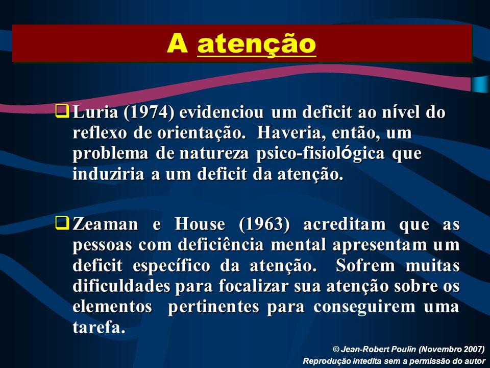 A atenção © Jean-Robert Poulin (Novembro 2007) Reprodução intedita sem a permissão do autor Luria (1974) evidenciou um deficit ao n í vel do reflexo d
