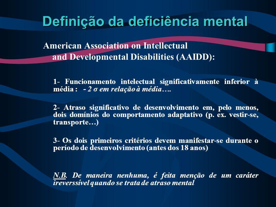 Definição da deficiência mental American Association on Intellectual and Developmental Disabilities (AAIDD): 1- Funcionamento intelectual significativ