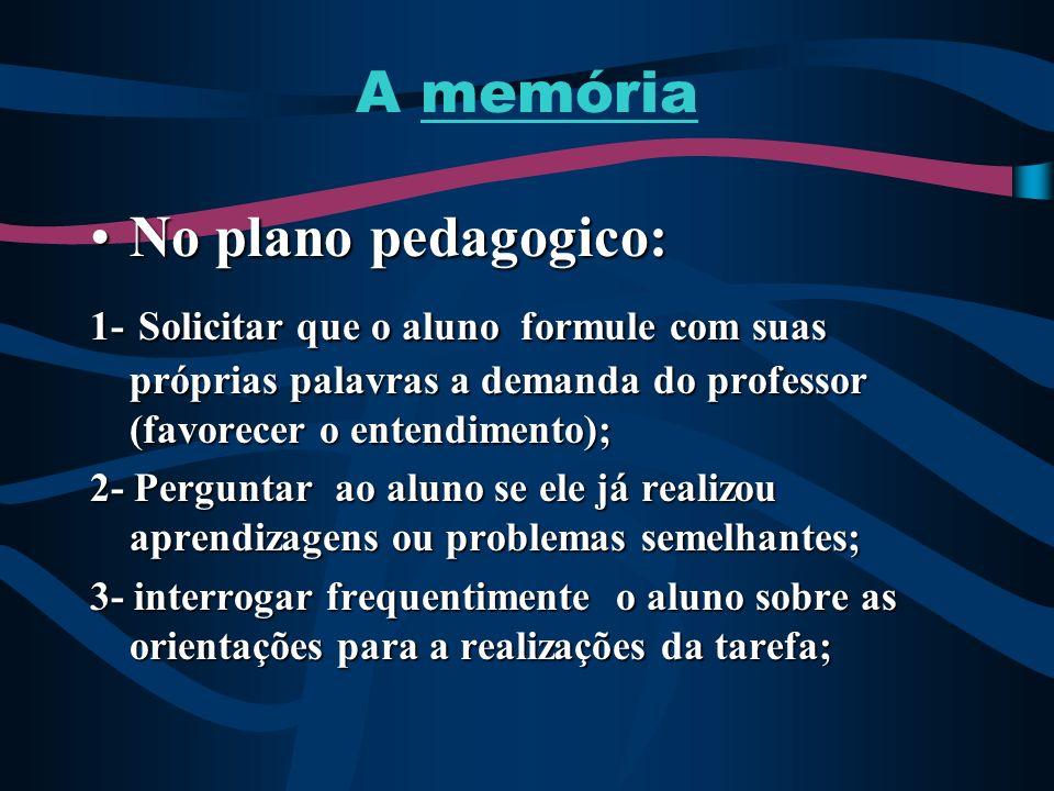 A memória No plano pedagogico:No plano pedagogico: 1- Solicitar que o aluno formule com suas próprias palavras a demanda do professor (favorecer o ent