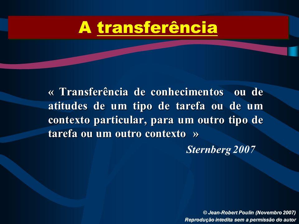A transferência © Jean-Robert Poulin (Novembro 2007) Reprodução intedita sem a permissão do autor « Transferência de conhecimentos ou de atitudes de u